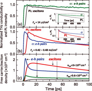 Efficient formation of excitons in a dense electron-hole plasma at room temperature