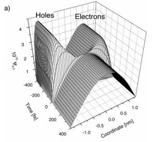 Ultrafast polarization dynamics in biased quantum wells under strong femtosecond optical excitation